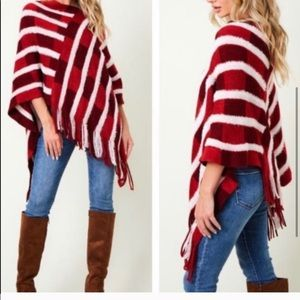 - Shades of Red Fringed Poncho